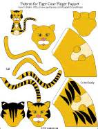 tiger puppet template printable pattern for tiger paper cone finger puppet colored
