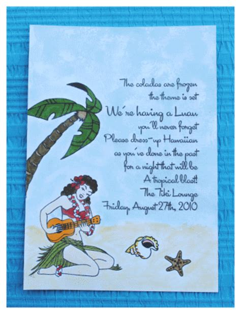 Come With Me Luau Dinner For 8 Invites by Handmade Luau Invitations