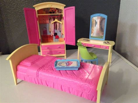 barbie bedroom furniture mattel barbie doll house furniture decor collection bedroom play set 4 pieces ebay