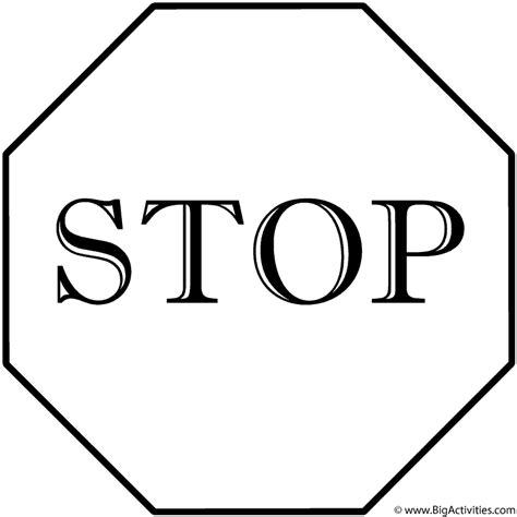 stop sign coloring page safety