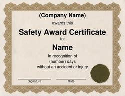 safety certificate templates award certificate template word