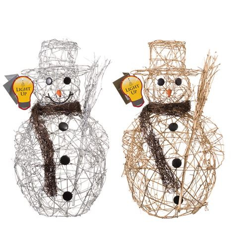 b m large rattan light up snowman christmas decorations