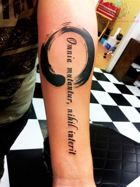 Zen Tattoo Quotes | zen circle and quote tattoo on arm
