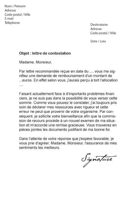 Exemple De Lettre Gracieuse lettre de contestation caf mod 232 le de lettre