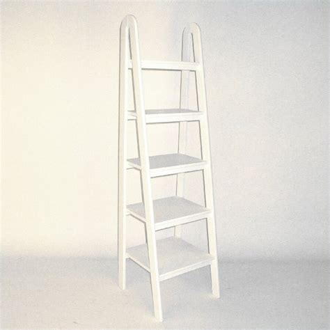 Basswood 5 Tier Ladder Bookcase In White 9025w White Ladder Shelf Bookcase