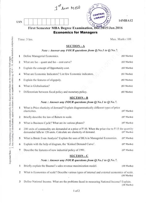 Mba Question Papers 1st Semester 2016 by 1st Semester Mba Dec 2015 Jan 2016 Question Papers