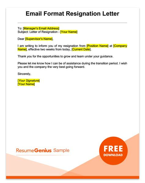Two Weeks Notice Letter Sle Free Download Resignation Email Template