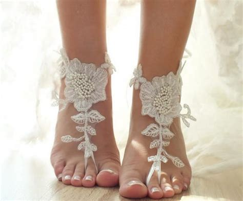 braut sandalen ivory beach wedding barefoot sandals floral lace sandals