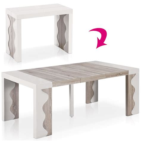 Charmant Table Ronde Salle A Manger Ikea #7: table-console-extensible-10-couverts-ivoire-et-chene.jpg