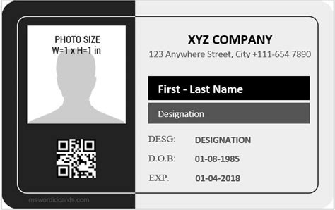 employee identification card template free employee id card templates microsoft word id card templates