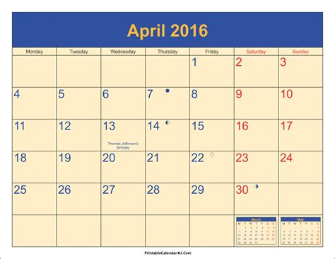 Calendar April 2016 April 2016 Calendar Printable With Holidays Pdf And Jpg
