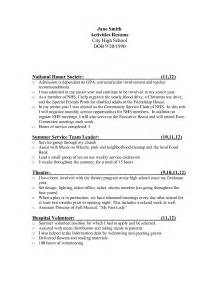 Resume Activities Exles Best Photos Of Resume Template High School Activities High School Activity Resume High School