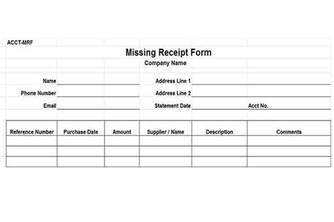 missing receipt form template procedures for small business checklist