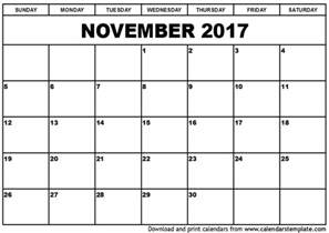November Calendar Template by November 2017 Calendar Template Monthly Calendar 2017