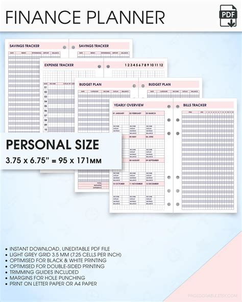 free printable personal size planner inserts finance planner filofax personal size inserts printable