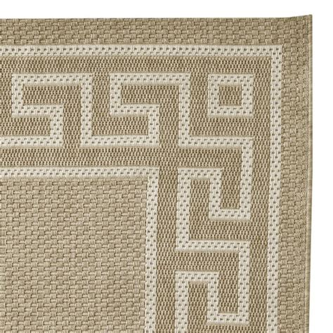 Faux Natural Greek Key Indoor Outdoor Rug Angora Gray Faux Rugs