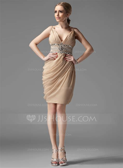 cocktail dress sheath column v neck knee length chiffon cocktail dress