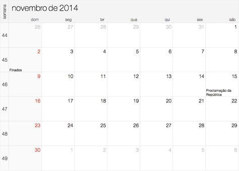 I Calendario Novembro 2014 Calend 225 2014 Feriados E Datas Comemorativas