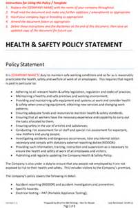 Health Safety Statement Template by Health And Safety Policy Statement Brunton Bid Writing