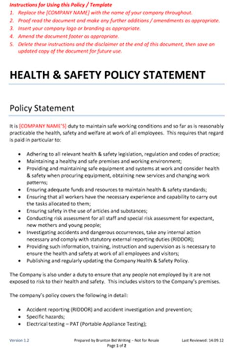 company health and safety policy template health and safety policy statement brunton bid writing