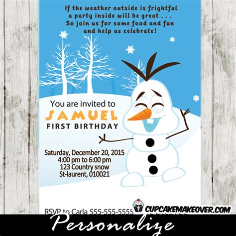printable olaf invitations snowman olaf birthday invitation personalized d6