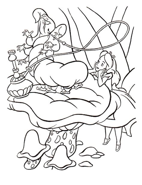 Alice In Wonderland Caterpillar Smoking Coloring Pages