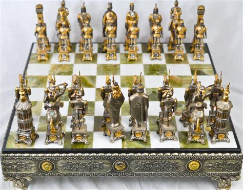 Cheap Chess Sets vintage silver amp gold over bronze chess set