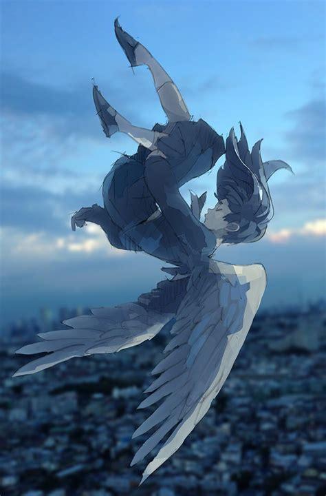 Anime Art Falling Wings Sky Girl Falling Closed Eyes School Uniform