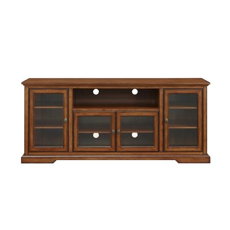 70 quot highboy style wood tv stand rustic brown