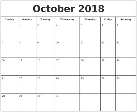 printable calendar october 2018 october 2018 print free calendar