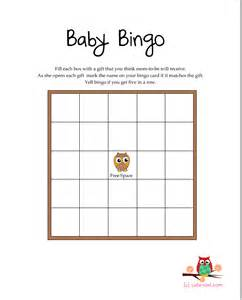 Free printable owl themed baby shower bingo game
