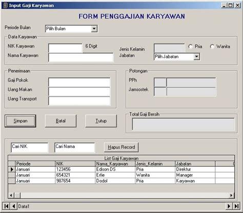 modul desain database form imput gaji dengan database edison doloksaribu