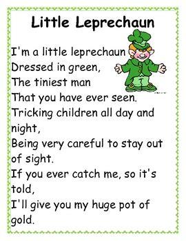 poem from a leprechaun shamrock acrostic poem poem them leprechaun poetry station by forever first teachers pay