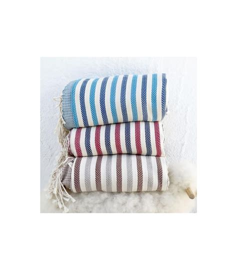 plaid decke grande fouta d 233 co bleu plaid 100 coton jet 233