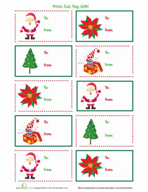 printable gift tags from father christmas printable christmas gift tags worksheet education com