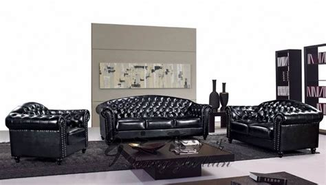 Studded Sofa Sets Royal Black Sectional Living Room Sofa Sets 3 2 1 Studded