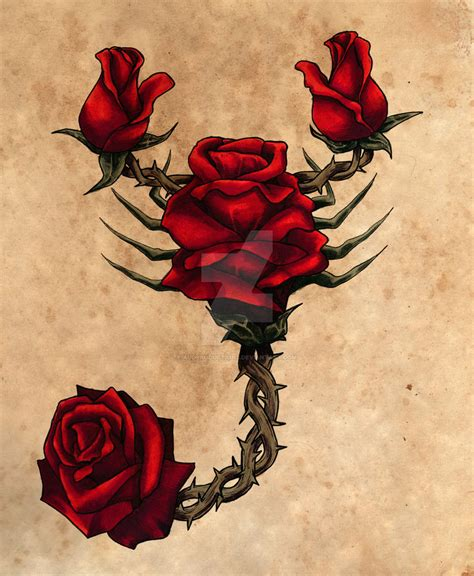scorpion with rose tattoo scorpion by auditiesart on deviantart