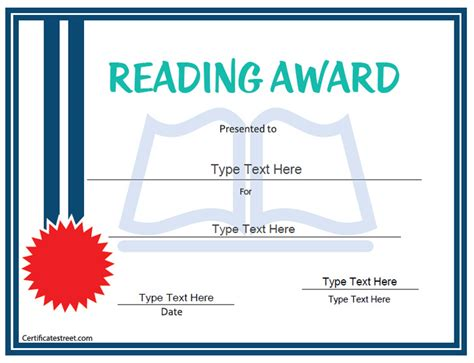 reading certificate templates certificate free award certificate templates no