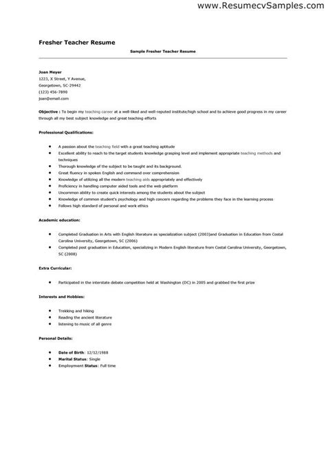 Cover Letter Cv Teachers by Best 25 Resumes Ideas On Teaching