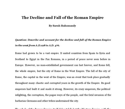 Decline Of Rome Essay by The Causes For The Decline And Fall Of The Empire Gcse History Marked By Teachers