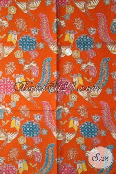 Batik Printing Bahan Halus Model Banyak Btm01011 batik orange motif bagus proses print kain batik istimewa