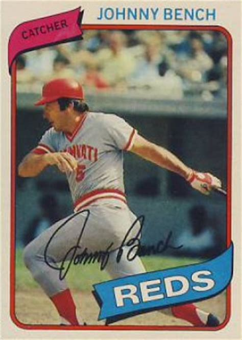 johnny bench baseball card 1980 topps johnny bench 100 baseball card value price guide