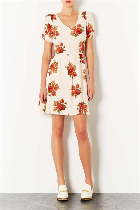 Topshop Dress Autumn by Lyst Topshop Autumn Floral Tea Dress In White