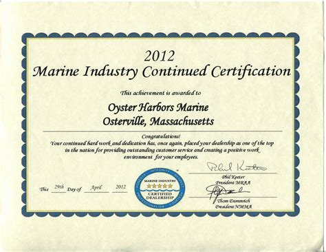Or Certification 12 Industry Certification Oyster Harbors Marine Oyster Harbors Marine