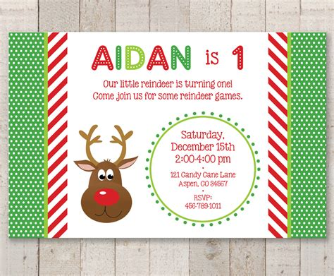 reindeer 1st birthday invitations holiday winter birthday