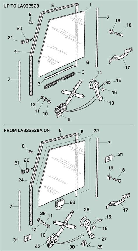 Defender Doors And Windows - defender front door channels glass regulator rovers