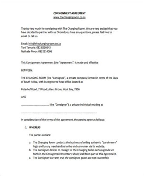 consignment agreement form sles 9 free documents in pdf