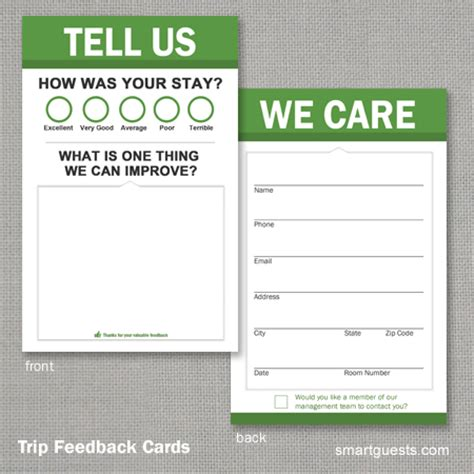 hotel comment card template trip feedback cards
