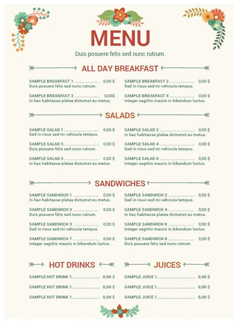 menu templates free for word 5 free restaurant menu templates excel pdf formats