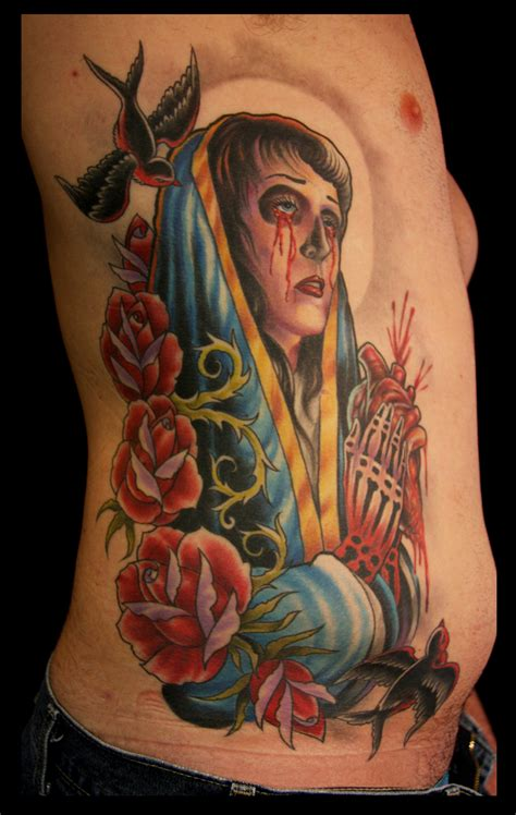 tattoo norris arm virgin mary on ribs by cory norris tattoonow